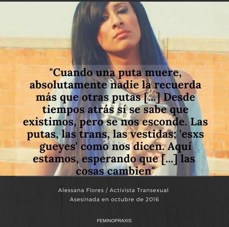 #MesDelOrgullo #Transvisibilidad Volvemos a compartir con ustedes parte del legado hecho palabras de lx compañerx trans mexicana Alessana Flores, quien fue asesinada en el 2016, y aún no hay justicia sobre su #transfeminicidio.